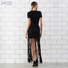 Adyce 2018 New Fashion Sexy Black Short Sleeve Long Tassel Fringe Dress Celebrity Party Dresses Women Maxi Dress Vestidos
