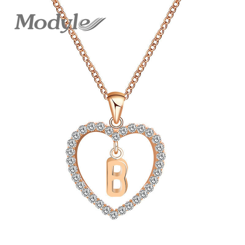 Modyle Letter Name Necklaces & Pendant For Women Girl Fashion Long Chain Heart Necklaces Cubic Zirconia DIY Jewelry Gift