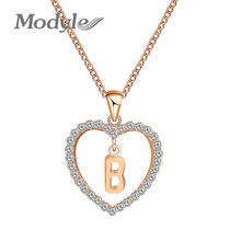 Modyle Letter Name Necklaces & Pendant For Women Girl Fashion Long Chain Heart Necklaces Cubic Zirconia DIY Jewelry Gift(China)