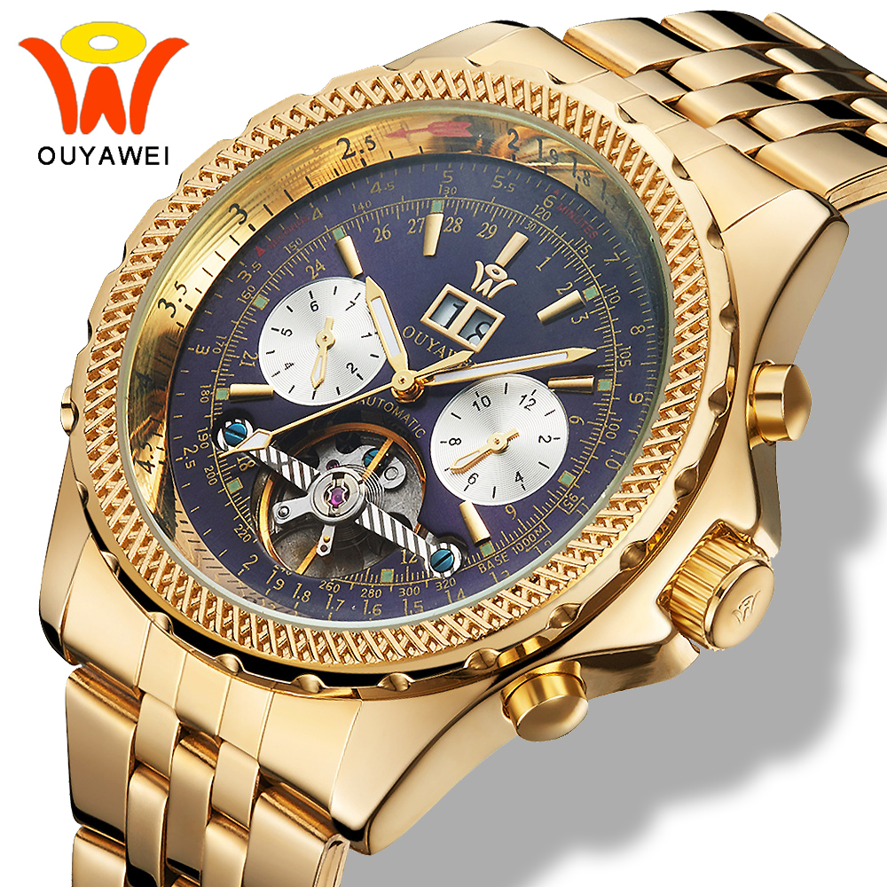 Ouyawei Tourbillon Day Date Metal Bracelets Watch Men Mechanical Automatic Business Multifunction Steel Wrist Watches relogio