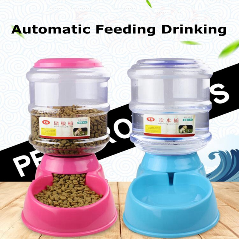 2017 New 2 Color 3.5L Large Automatic Pet Feeder Drinking Fountain For Cats Dogs Plastic Dog <font><b>Food</b></font> Bowl Pets <font><b>Water</b></font> Dispenser