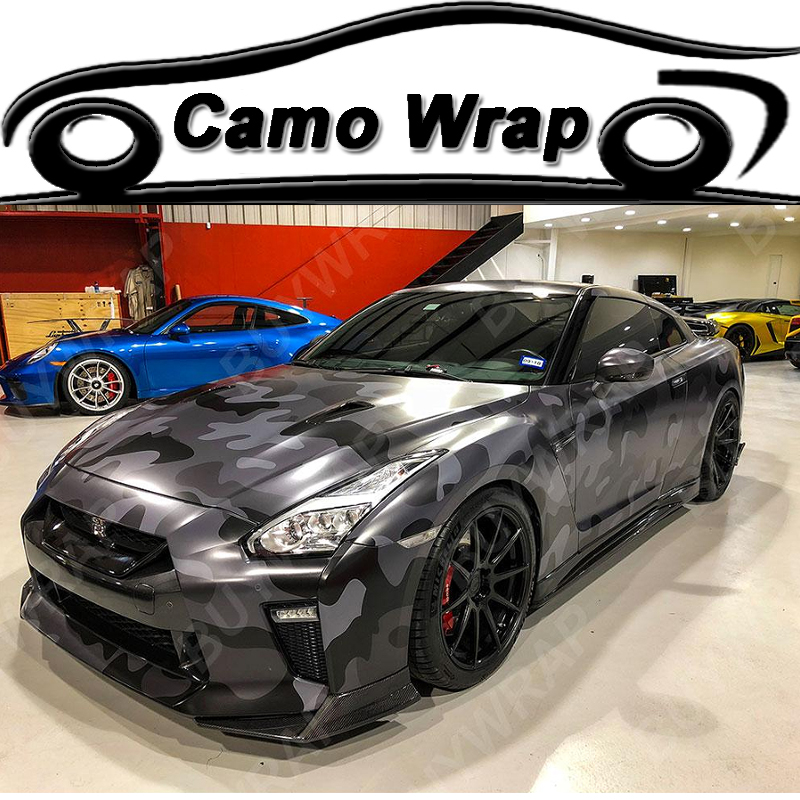 ORINO Large Grey Black Camouflage Vinyl Car Wrap Film Camo Car Sticker Truck Vehicle Wraps Air Bubble Free
