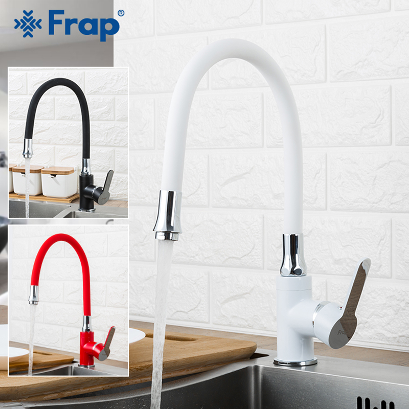 Frap Business Style Black White Red Silica Gel Nose Any Direction Kitchen Faucet Cold and Hot Water Mixer F4042 F4041 F4043Frap Business Style Black White Red Silica Gel Nose Any Direction Kitchen Faucet Cold and Hot Water Mixer F4042 F4041 F4043