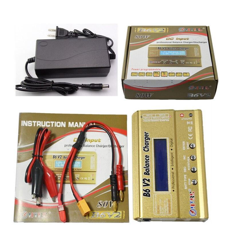 Построить Мощность HTRC B6 V2 80 Вт RC Баланс Зарядное устройство для RC LiIon/жизни/NiCd/NiMH/ высокая Мощность Батарея LiHV + 15 В 6A Adapte
