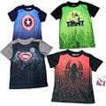 2015 Novos meninos t-shirt Capitão América Superman menina top t Spiderman t camisa dos miúdos do bebê t verão Casual criança averanger T camisa
