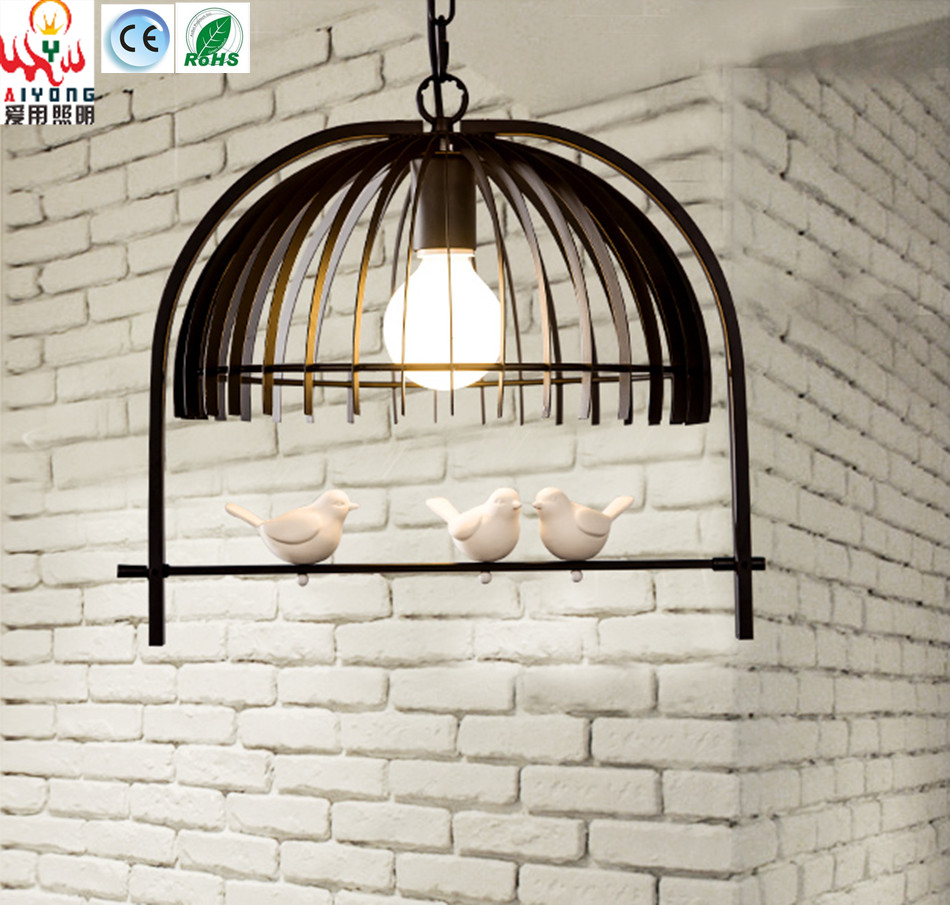 led pendant lights iron birdcage restaurant resin creative personality simple cafe bar bedroom