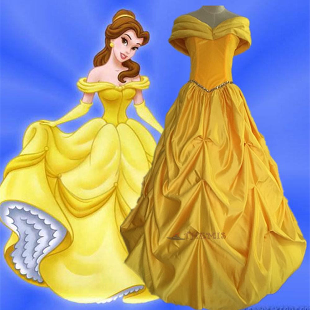 Athemis Anime  Beauty and the Beast Cosplay yellow Dress cosplay clothes custom made  Dress High Quality