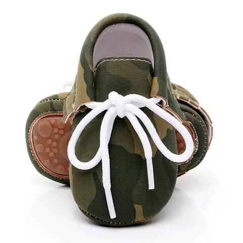HONGTEYA New Camouflage Rubber Bottom Newborn Baby Shoes Lace-up Pu Leather Boys Girls Tassel Baby Moccasins 16 Colors