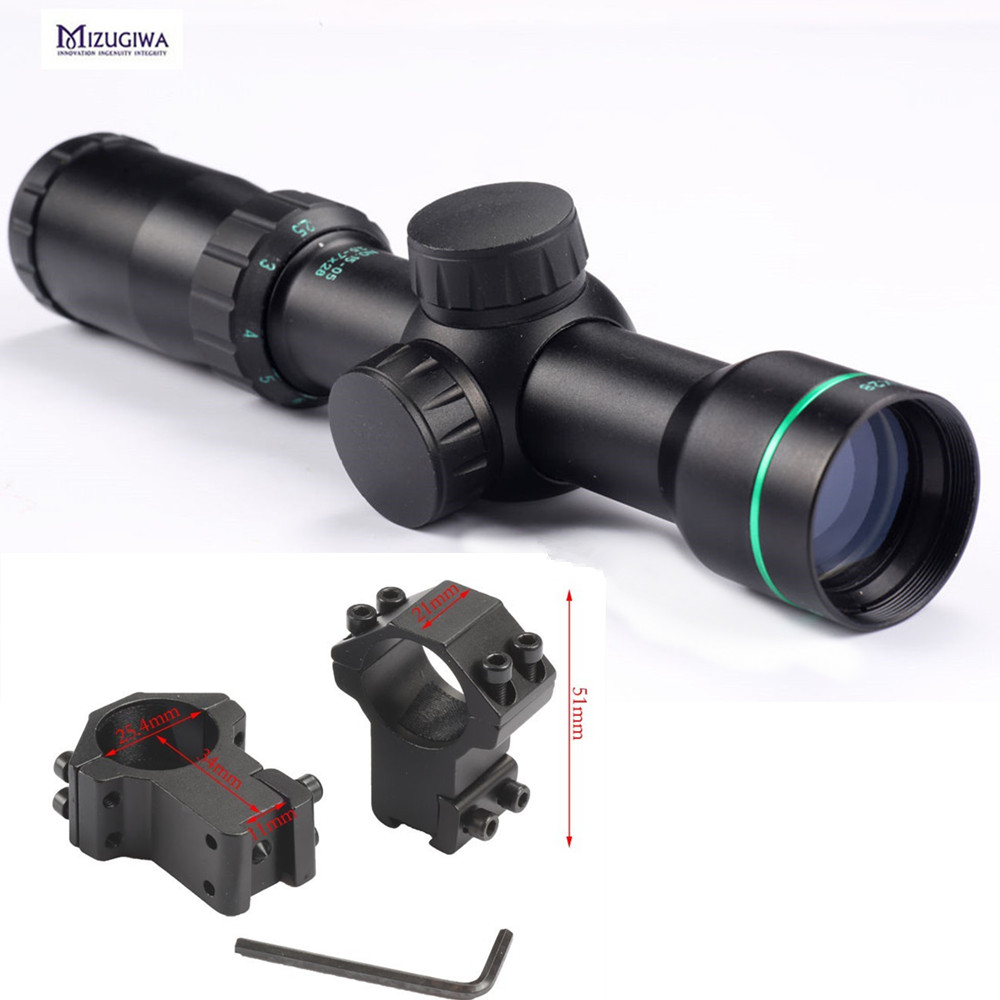 Hunting Tactical 2.5-7x28 rangefinder Reticle Riflescope Optical Sight Rifle Scope Gun Airsoft scope with 25.4mm Scope Mount