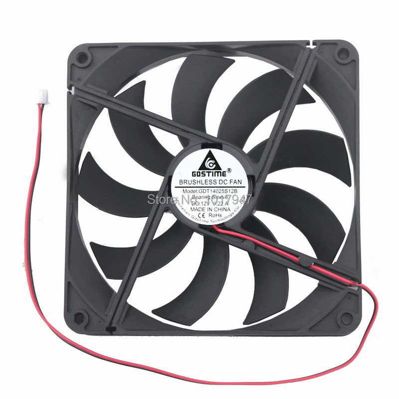 1Pieces Gdstime 12V 2Pin 14025 140mm 140x25 14cm PC Computer Case CPU DC Cooling Fan gdstime 1 piece dc 12v 2 pin 140x140mm 14025 cpu computer case cooling fan 140mm x 25mm 14cm pc cooler 5 5 inch