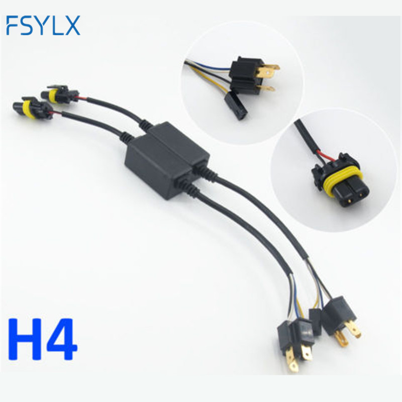 FSYLX 2pc H4 bixenon adapter Hi-Lo Relay Wiring Harness HID Xenon Ballast Cable Wire Connector for One Auto Motor Headlamp Light