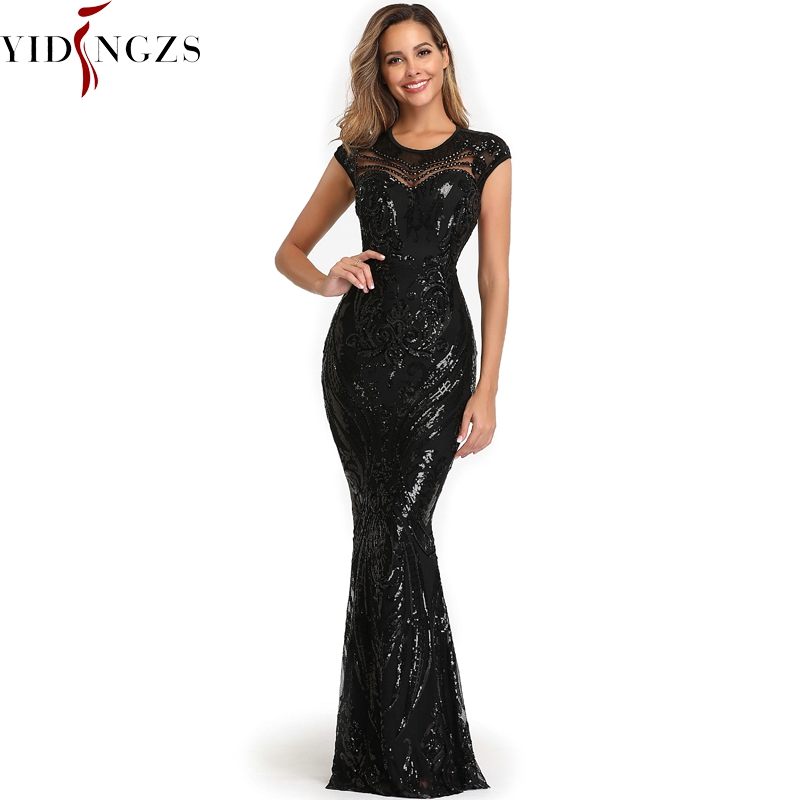 YIDINGZS Elegant Black Sequins Dress Backless Beads Long Evening Party Dress