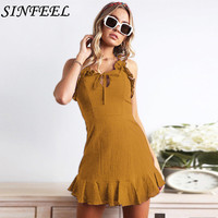 2019 Summer Sexy Dress Women Backless Cross Drawstring Ruffles Sleeveless Spaghetti Strap Mini Dress Summer Vintage Vestidos