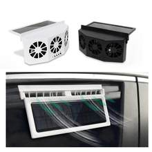 Mini radiador movido a energia solar 2.4 v 1.5 w ventilador de ventilação do carro controlador de temperatura do radiador ajustável ventilador do refrigerador do condicionador de ar(China)