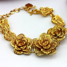 Цветок филигранный браслет цельный желтый золотой заполненный