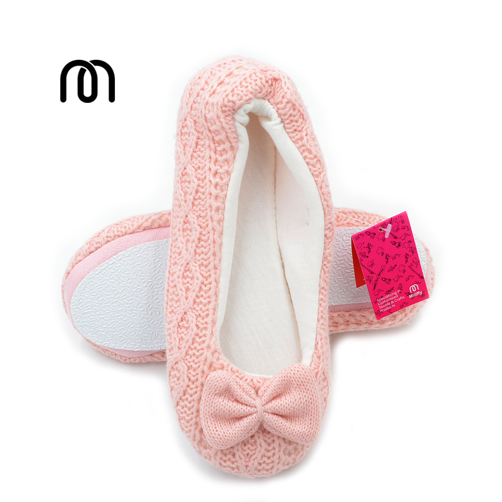 Millffy lovely fancy ballet flats slippers girls knit cloth slippers shoes home indoor floor lady slipper
