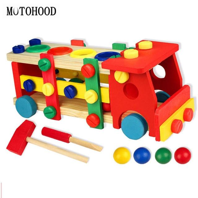 MOTOHOOD 11*12*29cm Wooden Toys Screw Nut Truck Car Knock