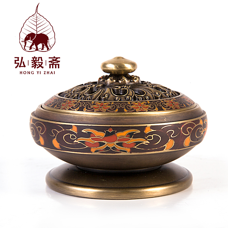Hong Yizhai enamel craft antique incense censer aromatherapy pure sandalwood incense disc stove ornaments цены