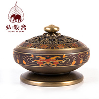 Hong Yizhai Enamel Craft Antique Incense Censer Aromatherapy Pure Sandalwood Incense Disc Stove Ornaments