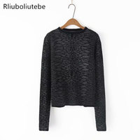 O Neck Leopard Print Knit Sweater Women Knitted Pullover Long Sleeve Casual Spring Jumper Work Office Lady Sweater Animal Print