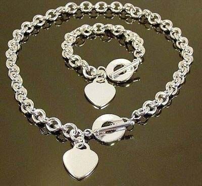 wholesale silver plated heart necklace & bracelet set,fashion women /men necklace + bracelet set,hot sell men's jewelry