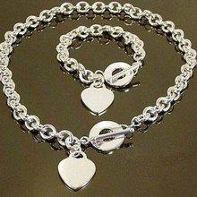 Bracelet-Set Jewelry Necklace Men's Silver-Plated Wholesale Fashion Heart Women Hot-Sell