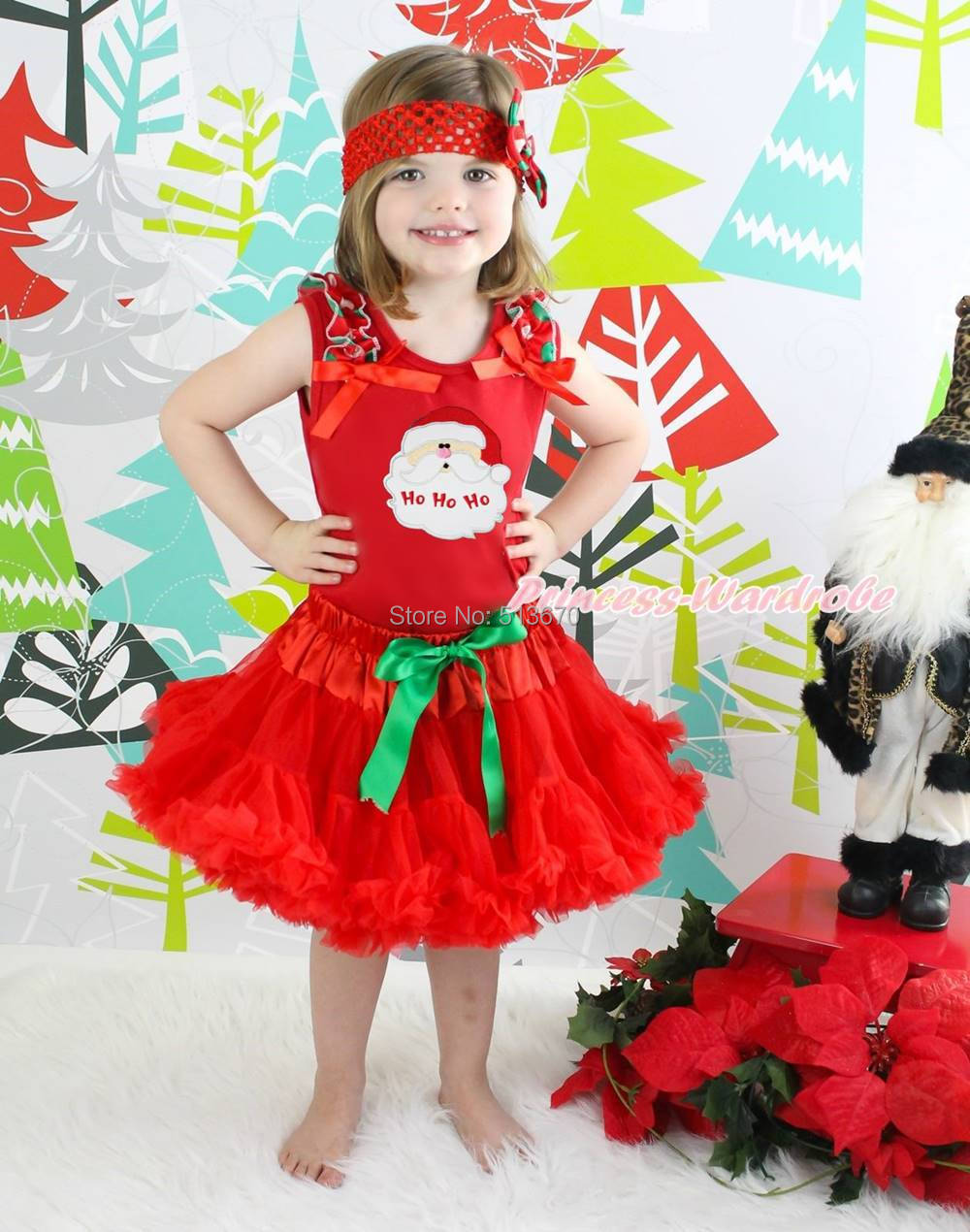 XMAS Santa Claus Head Pettitop Red Pettiskirt Baby Girl Outfit Costume Set 1-8Y MAPSA0075 my 1st christmas santa claus white top minnie dot petal skirt girls outfit nb 8y