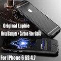 Luxo original luphie moldura de alumínio + fibra de carbono de volta adesivo de metal case para iphone 6 s 6g 4.7 polegada ips19