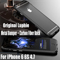 Luxury Original Luphie Aluminum Frame + Carbon Fiber Back Sticker Metal Case for IPhone 6S 6G 4.7 inch IPS19