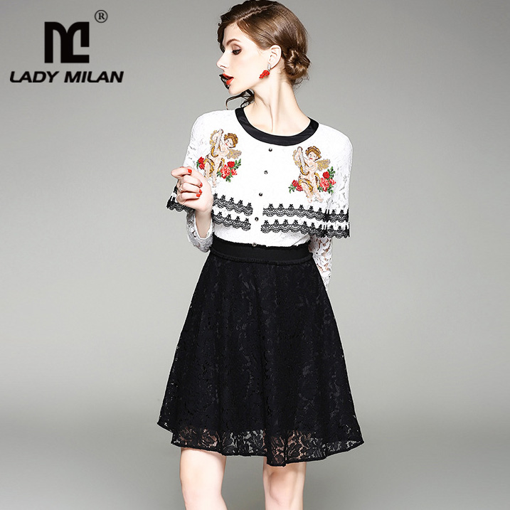 Lady Milan 2018 Womens O Neck Long Sleeves Ruffles Embroidery Lace Patchwork Fashion A Line Runway Dresses