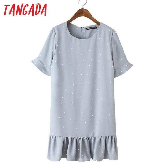 Tangada Korean Fashion Summer Women School Polka Dot Print Pleated Mini Dresses O-Neck Flare Sleeve Elegant Casual Vestidos YD90