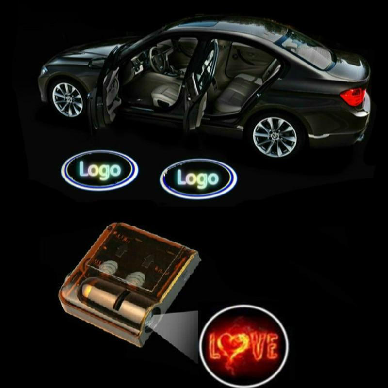JURUS A pair Car LED Welcome Light Decorative lights Christmas Door Light for LOVE show logo light Wireless Projector Light
