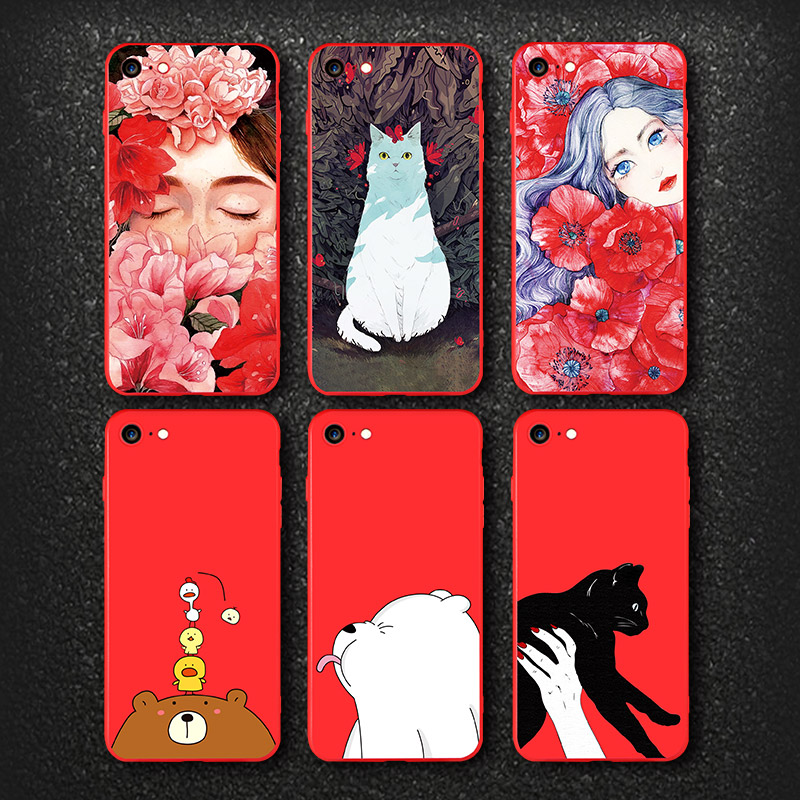 IIOZO Ultra Thin Red Case For iphone 7 7plus Cute Bear Flower Fairy Cat Phone Cases Back Full Cover for iphone 8 8plus Shell Bag