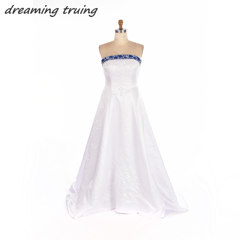 Aliexpress buy a line vintage white and blue wedding