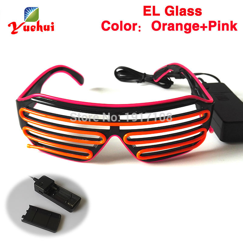 High quality two Color mixed 17 Style Cool Glowing Shutter Glasses Wedding decor Toy Gift battery Powered For Party decoration
