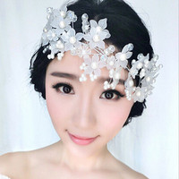 2017 Elegant Boutique Yarn Flower Shape Pearls Hairbands Handmade Wedding Hair Accessories Bridal Headpiece Made In