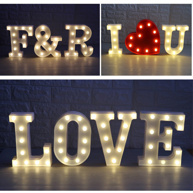 letters white led night light marquee sign luminaria flamingo cactus bear heart cloud lamp for birthday