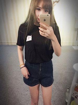 2016 New Summer Fashion Pocket Harajuku Cat Lovers Women Top Short-sleeve T shirt Cute Sweet Style Black/White/Grey Plus Size 5