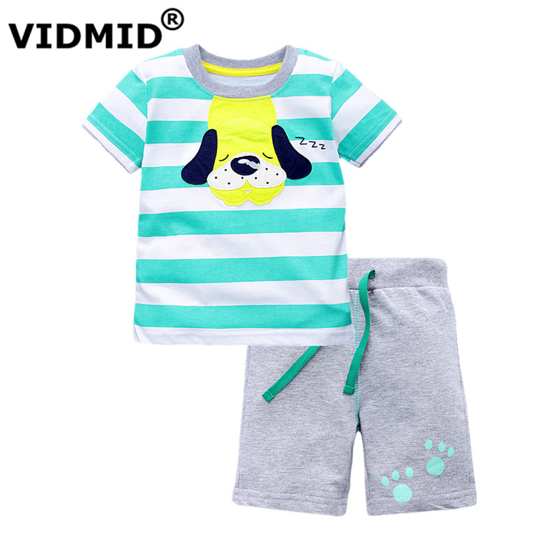VIDMID summer baby Kids children's set boys clothing new children's boys clothes set short-sleeved T-shirt+shorts clothing set