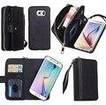 Pu leather case para samsung com zíper bolsa carteira phone case capa para samsung galaxy s7 edge s6 s6 edge s4 s5 nota4 Note5