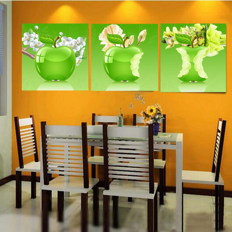 3 Pieces Wall Art Canvas Painting Fruit Apple Home Decoration Canvas Print Wall Art Picture For Living Room Kitchen No Frame