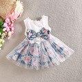 2015 verano de Las Muchachas del bowknot de impresión de gasa vestido del chaleco, vestidos de los niños, 5 unids/lote WMX35