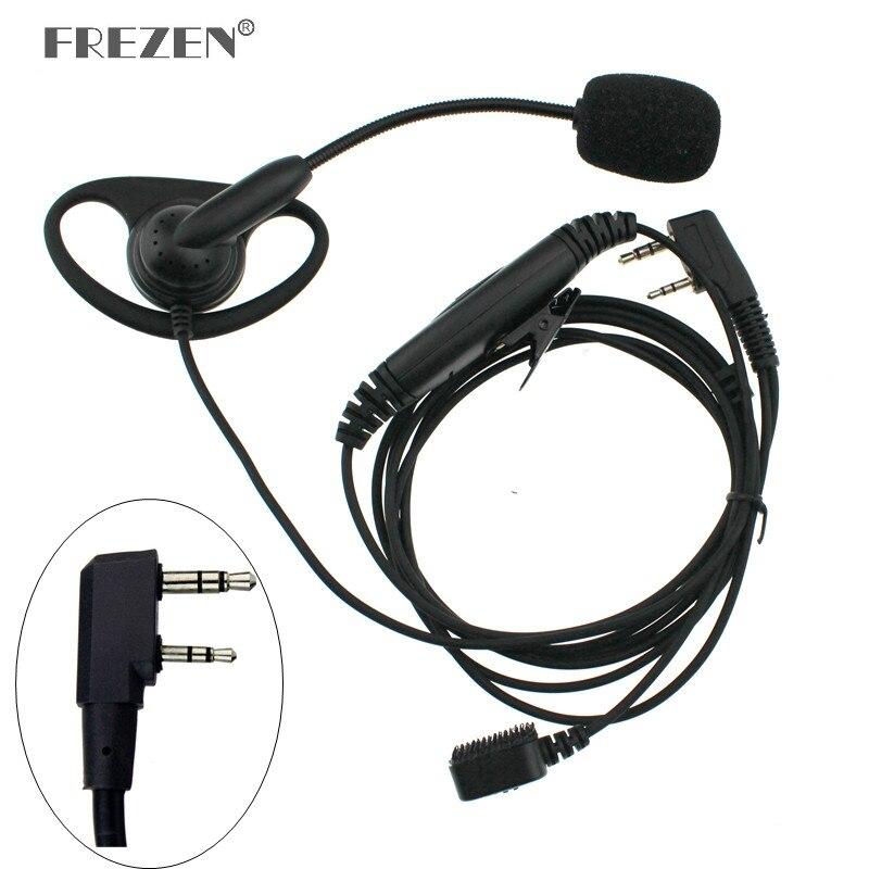 K Plug Walkie Talkie Headset D-type Finger Ear Stick Double PTT Headphone Tactical Earpiece For Baofeng UV-5R Kenwood TK-3107