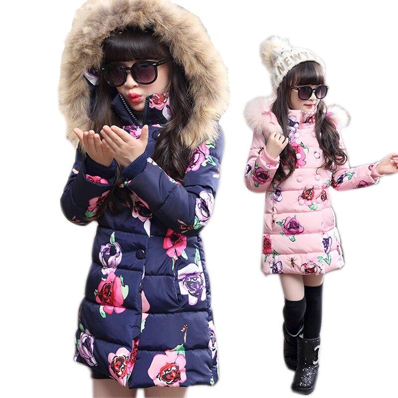 girls winter jacket Korean 5-13 years old girls down coats girl winter fur collar children's parkas hot Flower print hooded цена 2017