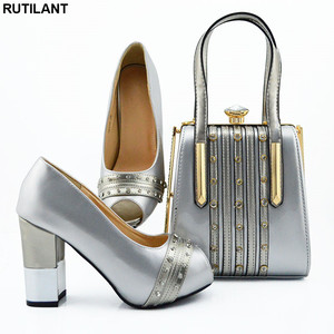 Image 5 - New Italian Designer Shoes and Bags Matching Set African Women Shoes Bags Set  High Heel Women Party Pumps Elegant Crystal Shoes