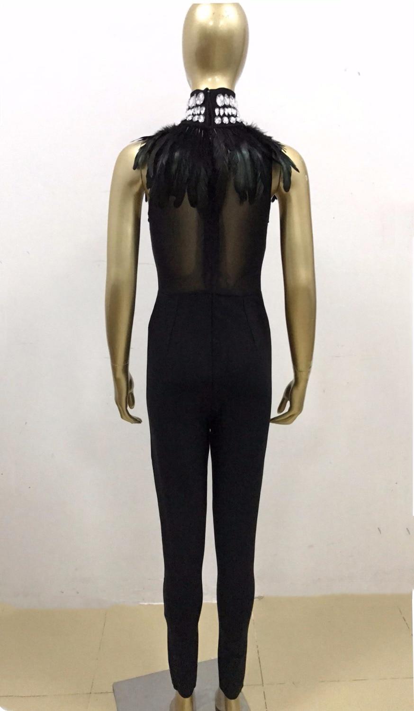 Col Haut Long Maigre Plume Élégante Nouvelle Body Sexy Designer Barboteuses Robes Parti Salopette Perles Lady Arrivée Bandage Ow6Eg