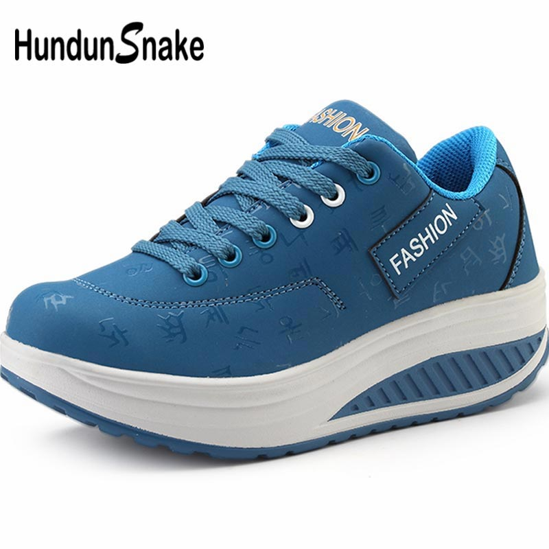 Hundunsnake Wedge Sports Shoes Lady Sneakers Woman Pu Leather Women's Running Shoes Sport Shoes Female Blue Scarpe Donna B-045