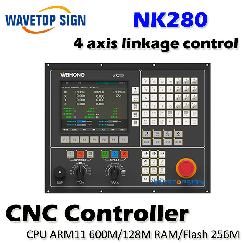 WEIHONG Integrated numerical control system NK280 support 4 axis linkage control CPU ARM11  600M 128M RAM 8 INCH screen weihong card woodworking lathe engraving plasma denture machine weihong cnc system integration nk105g2 for 3 axis