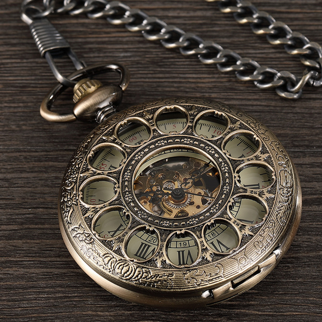 Vintage Steampunk Mens Mechanical Hand-wind Pocket Watch Hollow Roman Dial Bronze Retro Skeleton Clock FOB Chain Pocket Watches