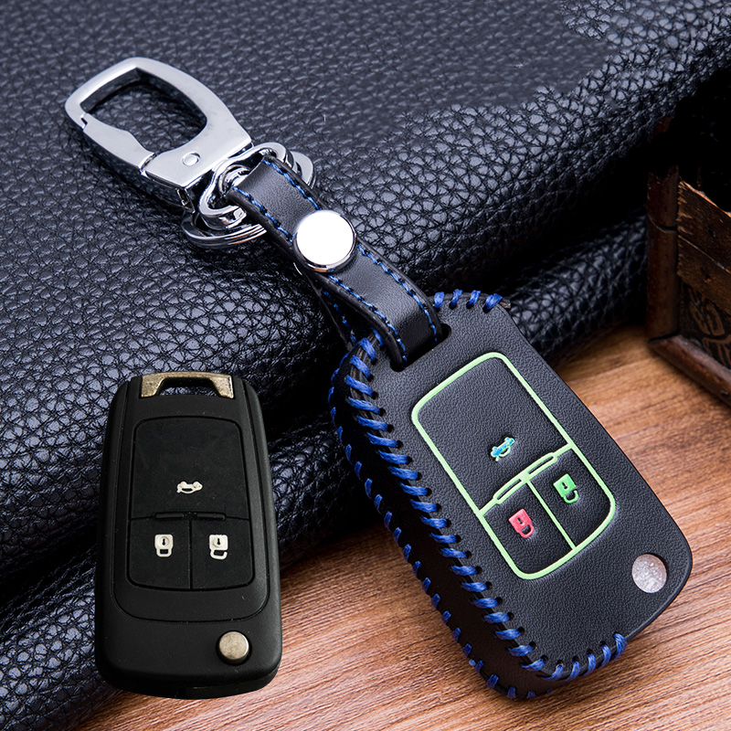 Image 5 - Hand sewing Luminous Leather  Key Holder Cover Case For buick Chevrolet Cruze Aveo TRAX Opel Astra Corsa Meriva Zafira Antara-in Key Case for Car from Automobiles & Motorcycles